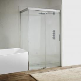 Koralle S606Plus sliding door with short partition on fixed element 2 piece TSG transparent/silver high gloss/high gloss