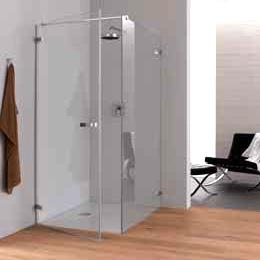 Koralle S707 partition for swing door TSG transparent / Shiny silver