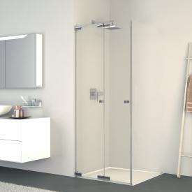 Koralle S808 folding door corner shower TSG transparent / silver high gloss