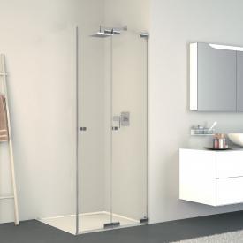 Koralle S808 folding door corner shower TSG transparent incl. GlasPlus / silver high gloss