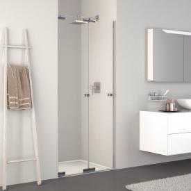 Koralle S808 folding door for recess TSG transparent / silver high gloss