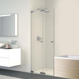 Koralle S808 folding door for short partition TSG transparent / silver high gloss