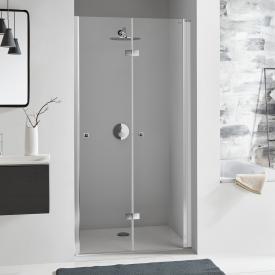 Koralle SL410 bi-fold door for recess TSG transparent / matt silver
