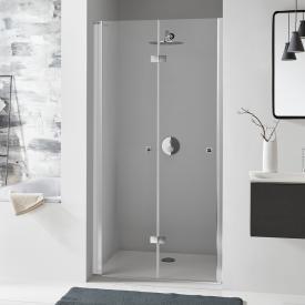 Koralle SL410 bi-fold door for recess TSG transparent with GlasPlus / matt silver