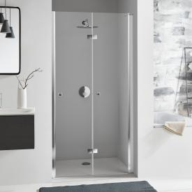 Koralle SL410 bi-fold door for recess TSG transparent with GlasPlus / polished silver