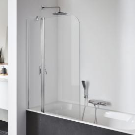 Koralle SL410 hinged bath screen door with fixed element TSG transparent with GlasPlus / polished silver