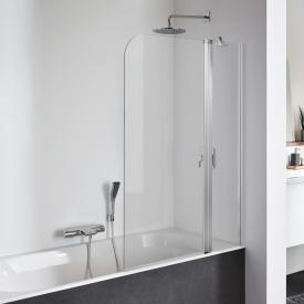 Koralle SL410 hinged bath screen door with fixed element TSG transparent / matt silver