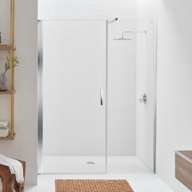 Koralle SL410 hinged door with adjacent part for recess TSG transparent / polished silver