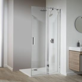 Koralle SL410 hinged door with fixed element for corner entry TSG transparent with GlasPlus / polished silver
