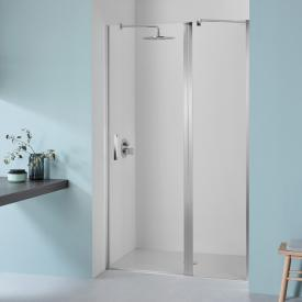 Koralle SL410 hinged door with fixed element for partition TSG transparent with GlasPlus / matt silver