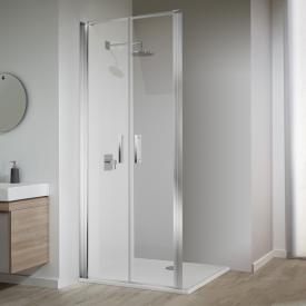 Koralle SL410 two-piece hinged door for partition TSG transparent with GlasPlus / polished silver