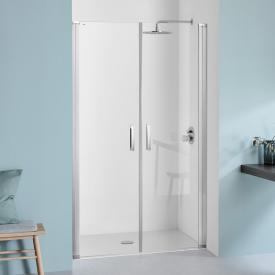 Koralle SL410 two-piece hinged door for recess TSG transparent with GlasPlus / matt silver
