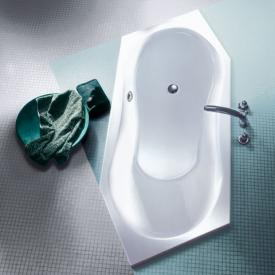Koralle T200 hexagonal bath, head rest left, right room corner white, front overflow