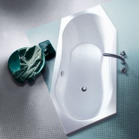 Koralle T200 hexagonal bath, headrest left, rear overflow white, rear overflow