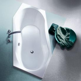 Koralle T200 hexagonal bath, headrest right, front overflow white, front overflow