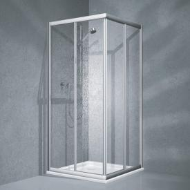 Koralle Twiggy Top corner entry sliding door 2-part Polyrit aquaperl transparent / matt silver