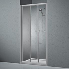 Koralle Twiggy Top Porte de douche coulissante en 3 parties pour paroi ou niche verre trempé transparent/argenté mat