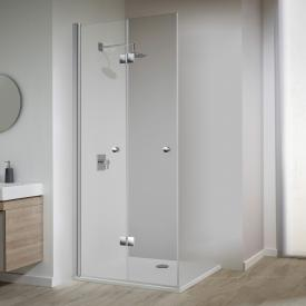 Koralle TwiggyPlus bi-fold door for corner entry TSG transparent / matt silver