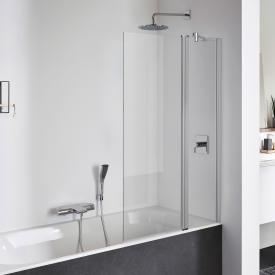 Koralle TwiggyPlus hinged bath screen door with fixed element TSG transparent with GlasPlus / matt silver