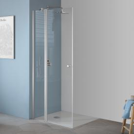 Koralle TwiggyPlus hinged door with fixed element for corner entry TSG transparent / matt silver