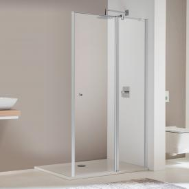 Koralle TwiggyPlus hinged door with fixed element for partition TSG transparent / matt silver