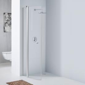 Koralle TwiggyPlus quadrant hinged door with fixed element TSG transparent / matt silver
