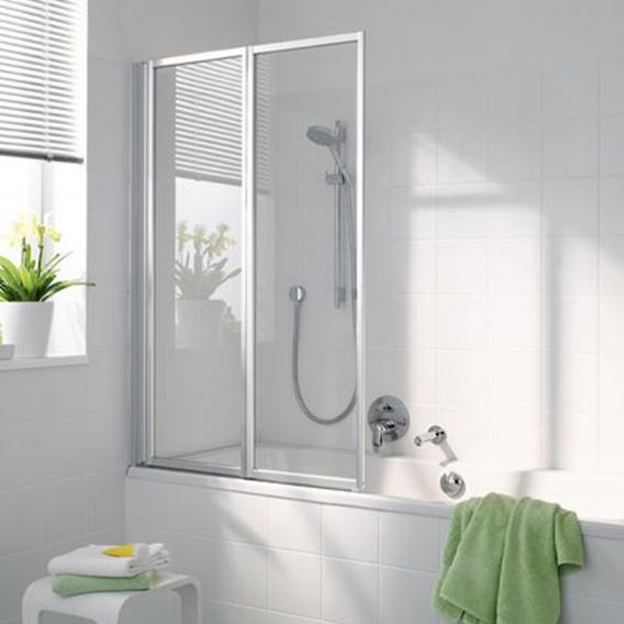 Koralle Avant 2 piece bi-fold bath screen TSG transparent incl. GlasPlus / matt silver