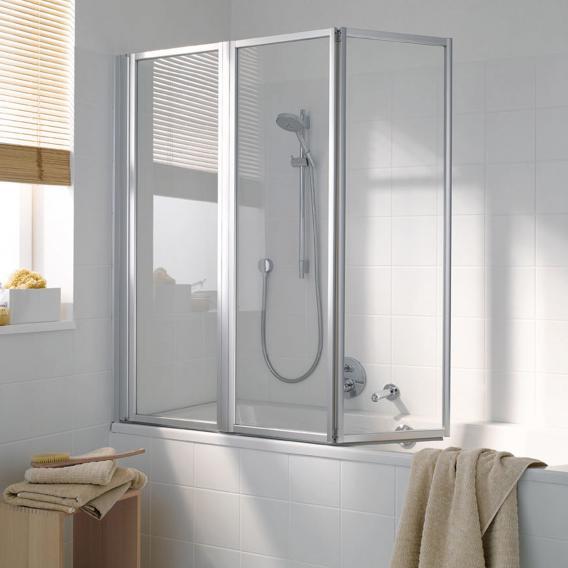 Koralle Avant 3 piece folding bath screen Polyrit aquaperl transparent / matt silver