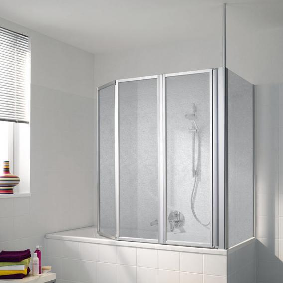 Koralle Avant bath screen Polyrit aquaperl transparent / matt silver