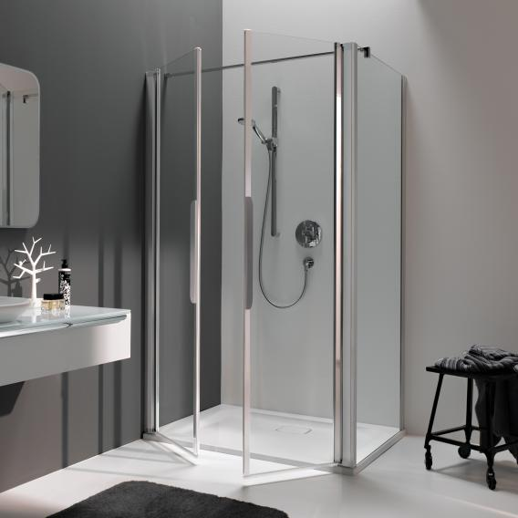 Koralle myDay partition for swing door WN TSG transparent incl. GlasPlus / polished silver