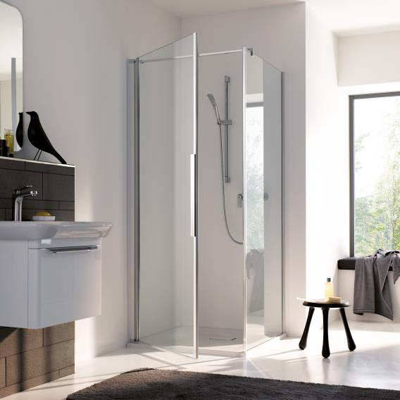 Koralle myDay partition for swing door WT TSG transparent incl. GlasPlus / polished silver