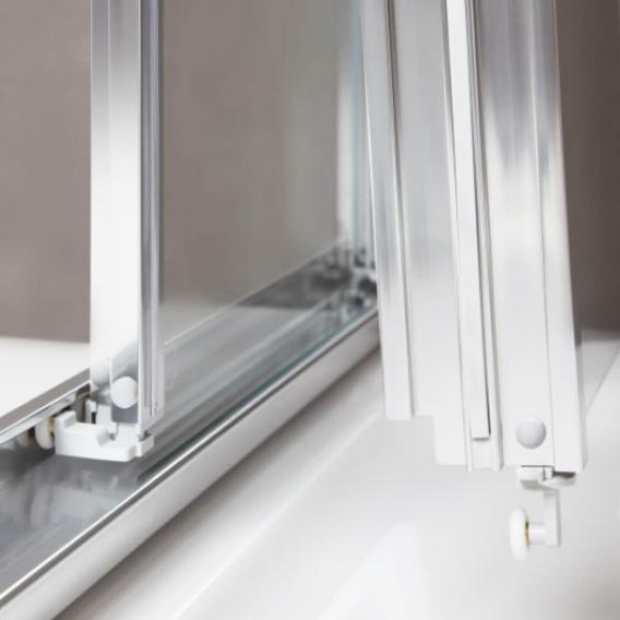 Koralle myDay quadrant sliding door 4 piece VSF TSG transparent incl. GlasPlus / polished silver