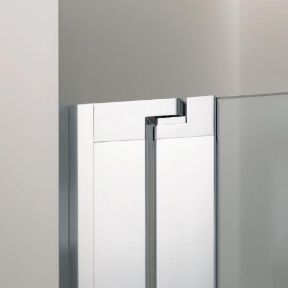 Koralle myDay swing door w. fixed element for recess CUSTOM-MADE TSG transparent with GlasPlus / polished silver