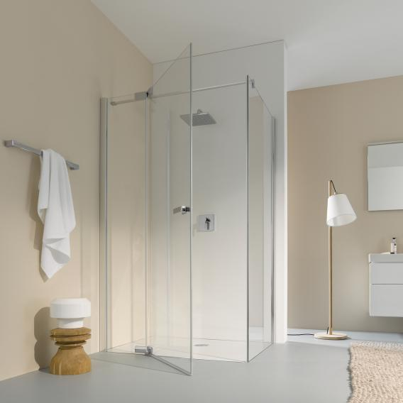 Koralle S800 partition for swing door TSG transparent incl. GlasPlus / silver high gloss