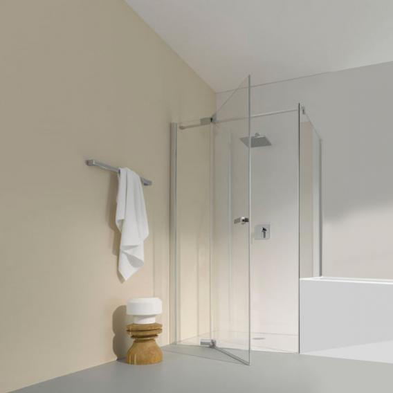 Koralle S800 short partition for swing door TSG transparent / silver high gloss