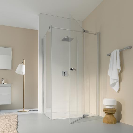 Koralle S800 swing door for partition TSG transparent / silver high gloss