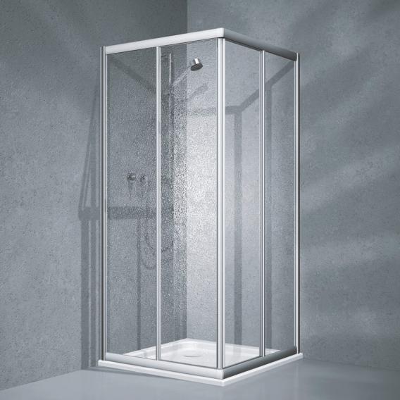 Koralle Twiggy Top corner entry sliding door 2-part Polyrit aquaperl transparent / matt silver