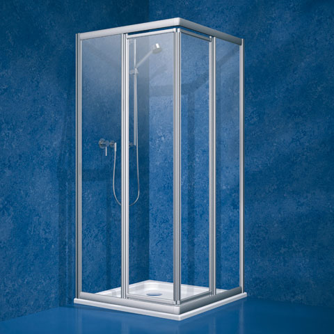 Koralle Twiggy Top swing door corner entry Polyrit aquaperl transparent / matt silver