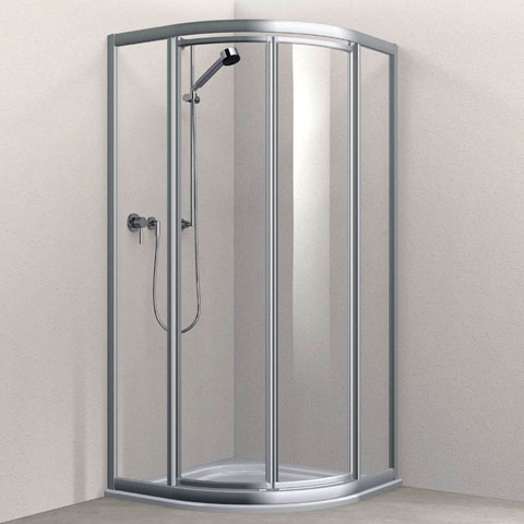 Koralle Twiggy Top quadrant  swing door Polyrit aquaperl transparent / matt silver