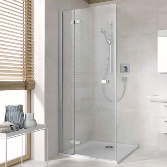 Koralle S500Plus wing door with fixed element for partition TSG transparent with GlasPlus / polished silver