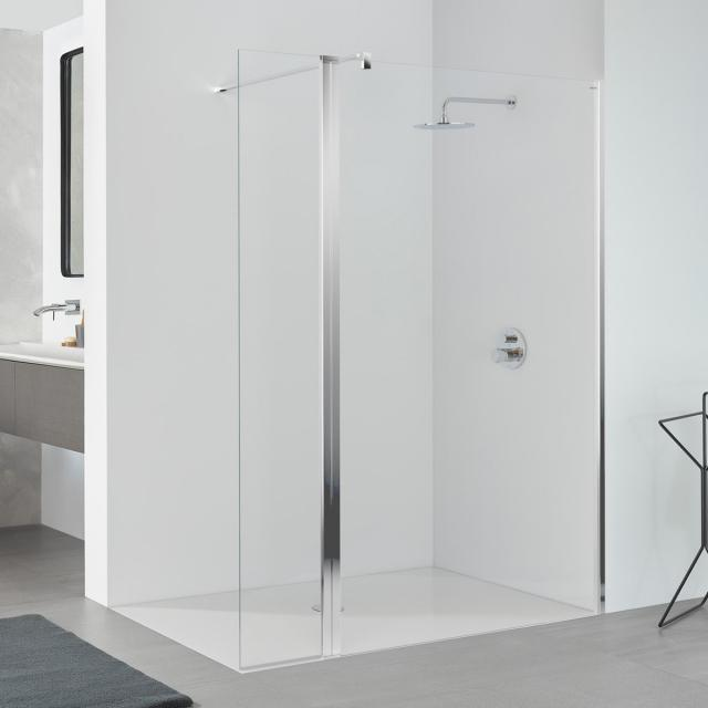 Koralle SL410 walk-in with hinged element TSG transparent with GlasPlus / polished silver