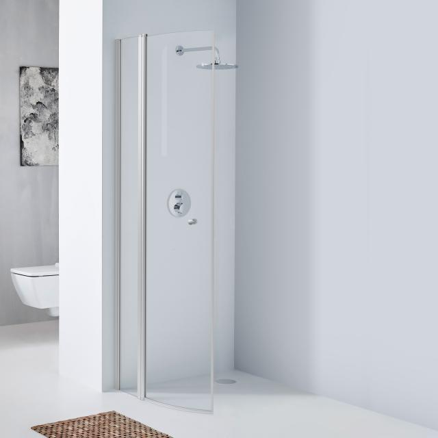 Koralle TwiggyPlus quadrant hinged door with fixed element TSG transparent with GlasPlus / matt silver