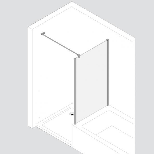 Koralle TwiggyPlus shortened partition TSG transparent with GlasPlus / matt silver