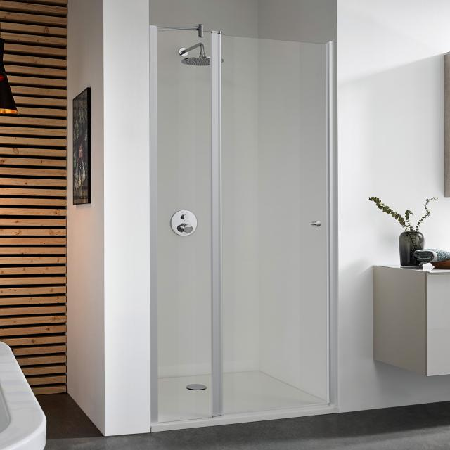 Koralle TwiggyPlus two-way door with fixed element for recess/shortened partition TSG transparent / matt silver