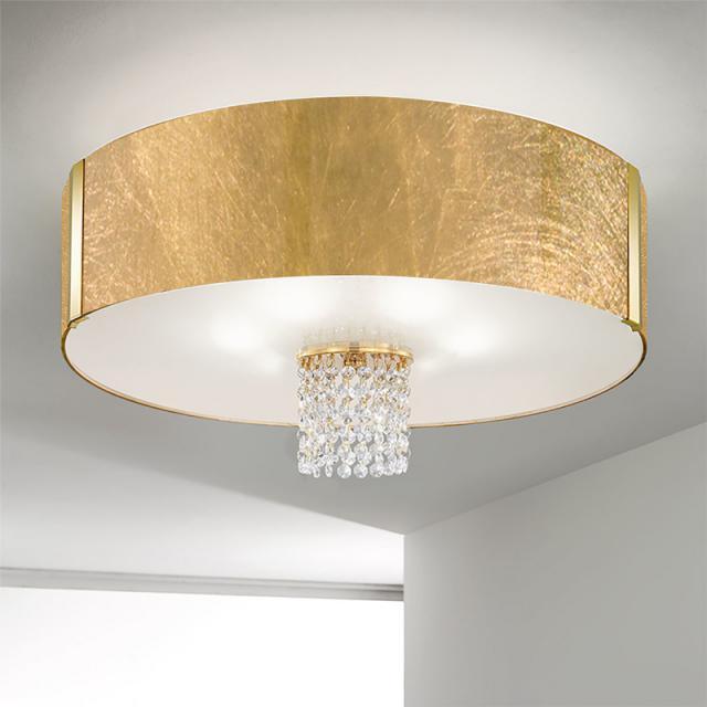 KOLARZ Emozione ceiling light with classic crystals, gold 24 K