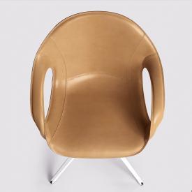 Kristalia Elephant swivel armchair on stand, full-grain hide leather