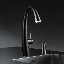 KWC Zoe kitchen mixer with LUMINAQUA® LED-Technology black