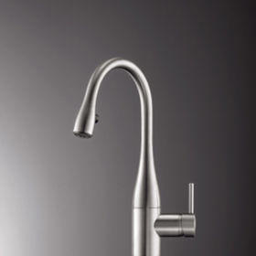 KWC Eve single lever kitchen mixer with pull-out spout stainless steel