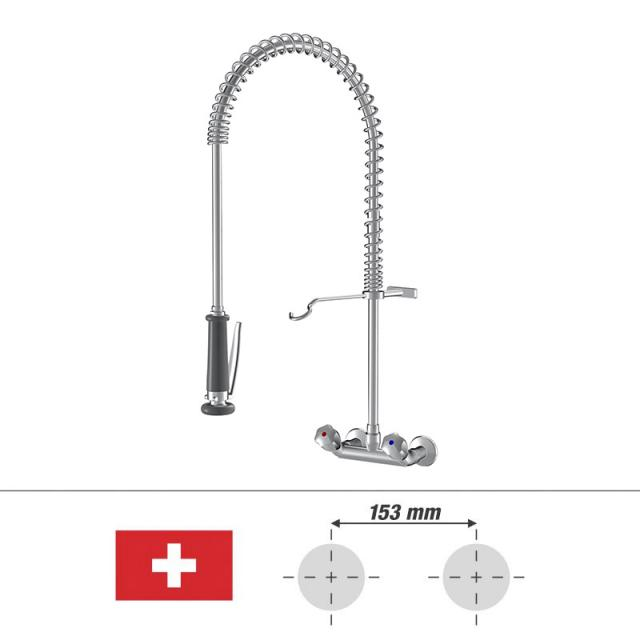 KWC Gastro two handle kitchen mixer with stainless steel support spring, for Switzerland