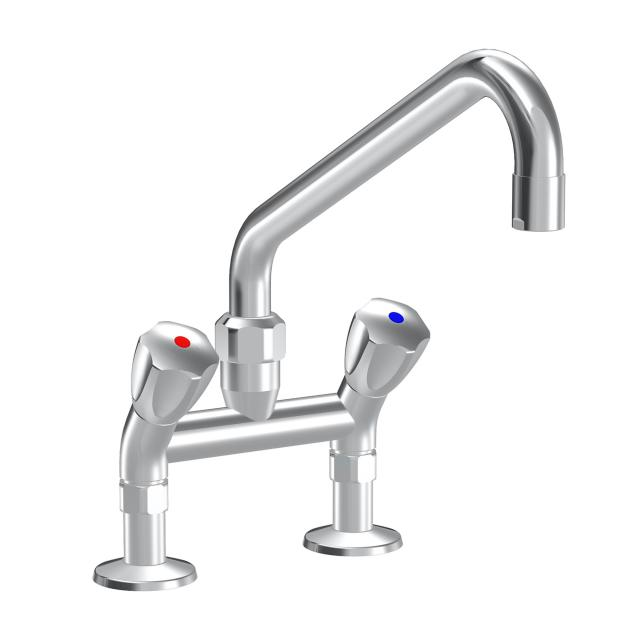 KWC Gastro two handle kitchen mixer with swivel spout